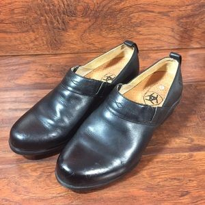 Ariat Black Leather Paddock Sport Clogs Womens 7